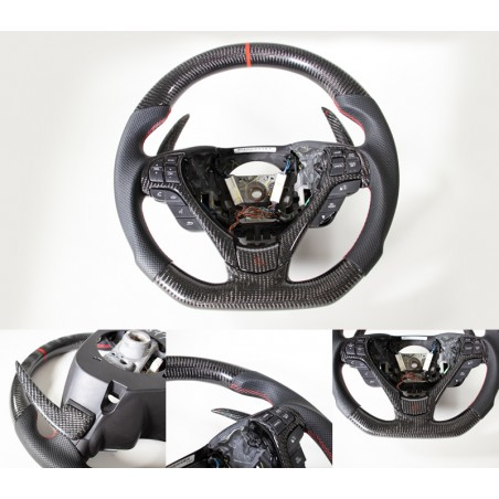2009-14 Acura TL Custom Carbon Fiber Steering Wheel W/Red Accent & Black Leather
